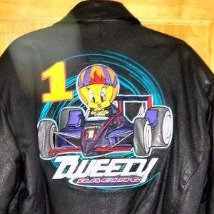 Tweety Racing Black Leather Bomber Jacket Medium